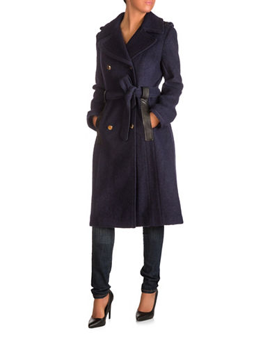 Guess Long Double Breasted Trench Coat-NAVY-Medium