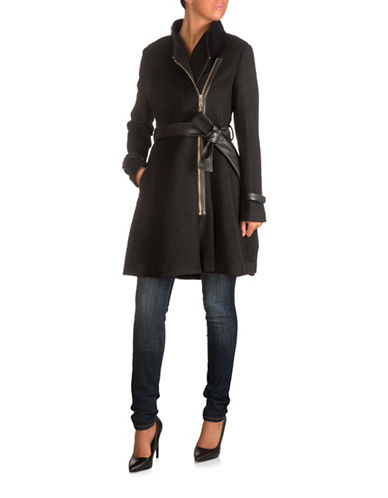 Guess Asymmetric Trench Coat-BLACK-Small