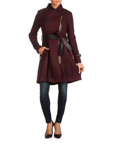 Guess Asymmetric Trench Coat-WINE-Medium