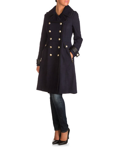 Guess Double-Breasted Textured Twill Coat-NAVY-Small