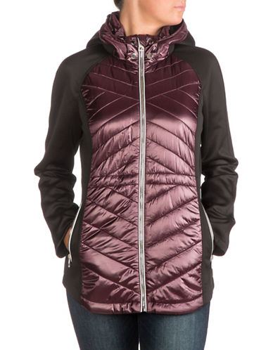 Guess Packable Zip Scuba Jacket-WINE-Medium