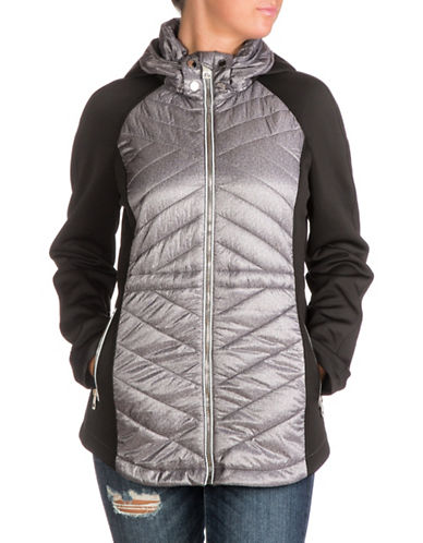 Guess Packable Zip Scuba Jacket-GREY MELANGE-Small