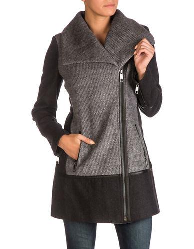 Guess Textured Colourblock Jacket-CHARCOAL/HEATHER GREY-Medium