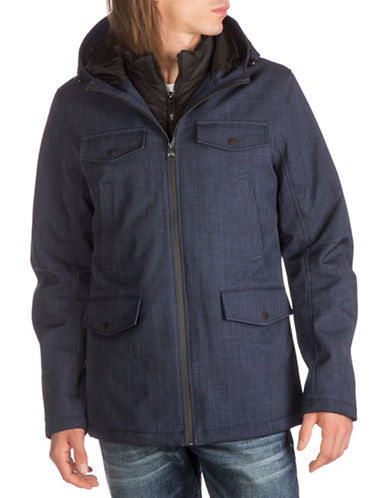 Guess Hooded Field Jacket-NAVY-Medium