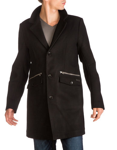 Guess Topper Buttoned Coat-BLACK-X-Large