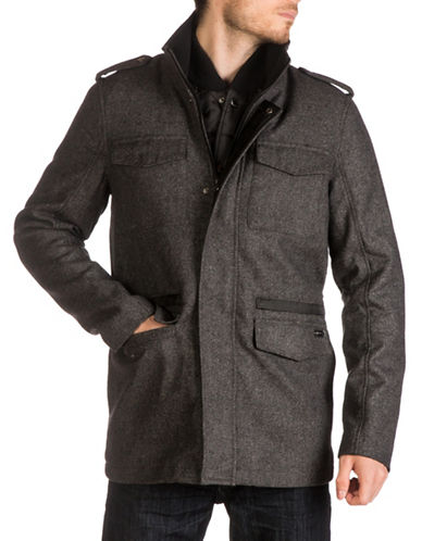 Guess Twill Car Coat-CHARCOAL-X-Large