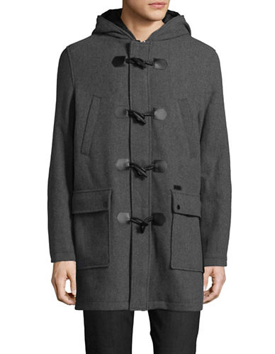 Guess Hooded Toggle Coat-CHARCOAL-Large