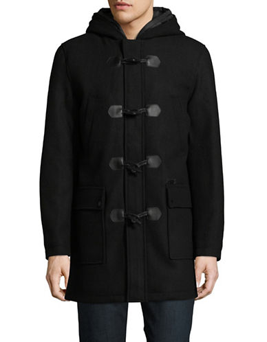 Guess Hooded Toggle Coat-BLACK-Medium