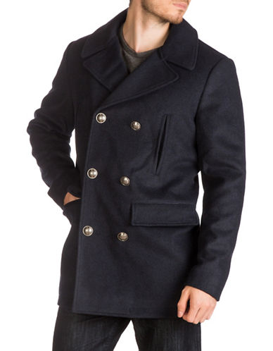 Guess Notch Lapels Double-Breasted Coat-NAVY-Medium
