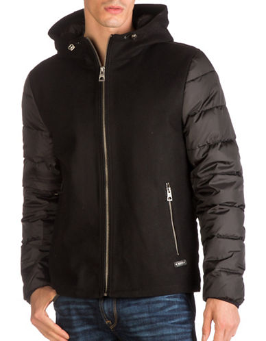 Guess Mix Media Quilted Hooded Jacket-BLACK-X-Large
