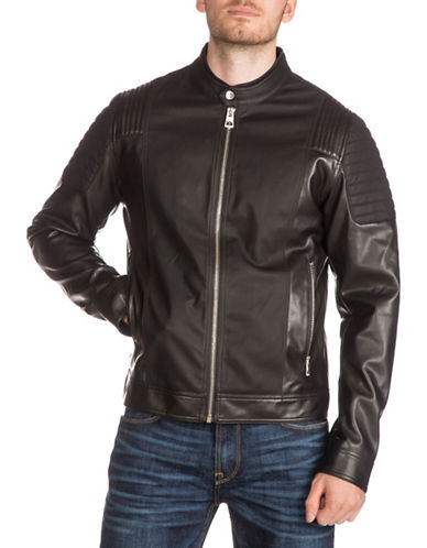 Guess Contrast Panel Motor Jacket-BLACK/NAVY-Large