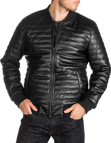 Guess Quilted Bomber Jacket-BLACK-X-Large