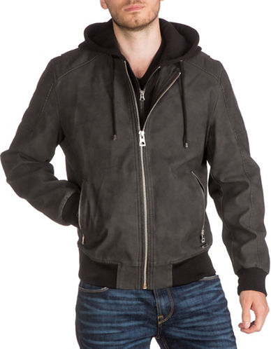 Guess Motor Hooded Bomber-CHARCOAL-Small