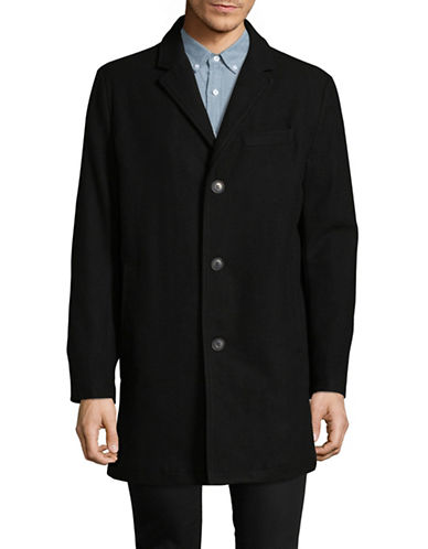Tommy Hilfiger Long Notch Collar Wool Coat-BLACK-Small