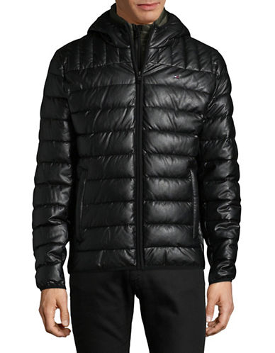 Tommy Hilfiger Quilted Faux Leather Puffer Jacket-BLACK-Medium