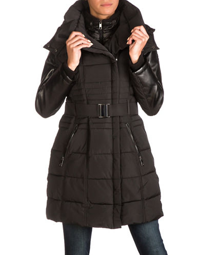 Guess Belted Long Puffer Jacket-BLACK-Large