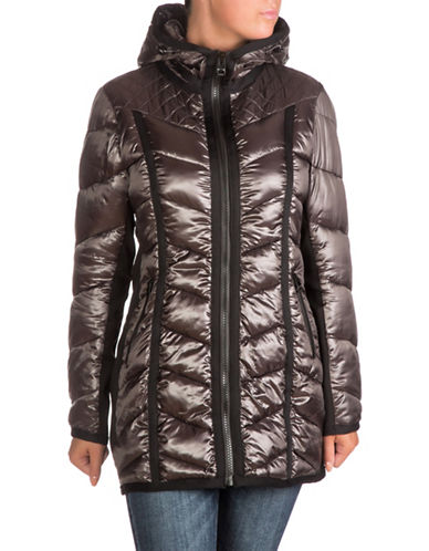 Guess Long Hooded Packable Puffer Jacket-STEELE-X-Large