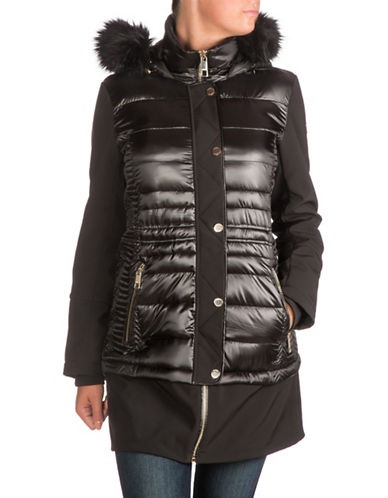 Guess Soft Shell Hooded Jacket with Faux Fur-BLACK-Small