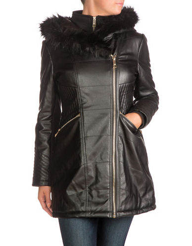 Guess Hooded Puffer Jacket with Faux Fur-BLACK-Small