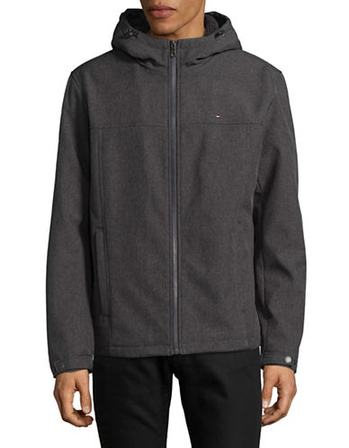 Tommy Hilfiger Soft Shell Hooded Jacket-GREY-X-Large