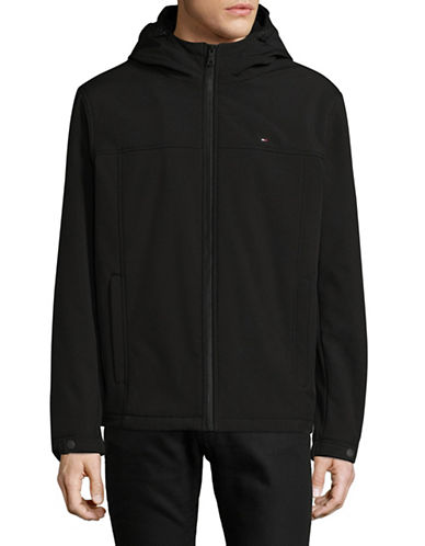 Tommy Hilfiger Soft Shell Hooded Jacket-BLACK-X-Large