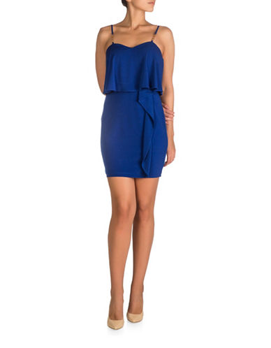 Guess Ruffle Popover Bodycon Dress-COBOLT-6