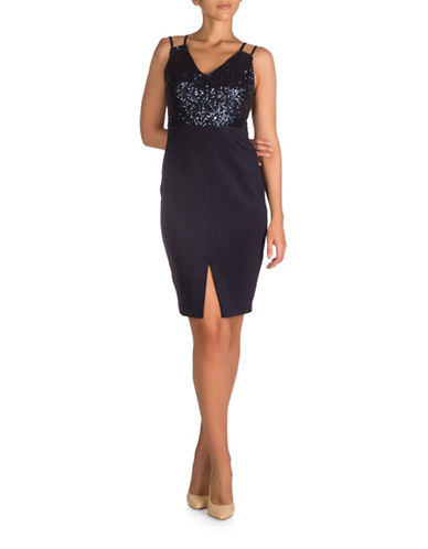 Guess Sequined Scuba Midi Dress-NAVY-6