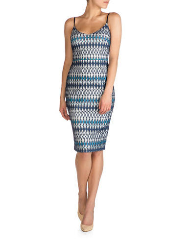 Guess Diamond Lace Midi Dress-BLUE MULTI-4