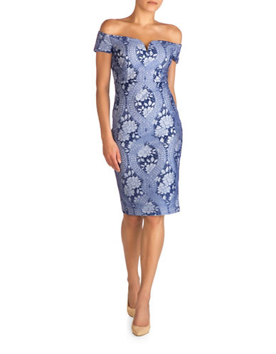 Guess Denim Lace Off-the-Shoulder Sheath Dress-BLUE-2