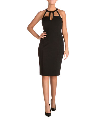 Guess Selfie Neck Scuba Midi Dress-BLACK-2