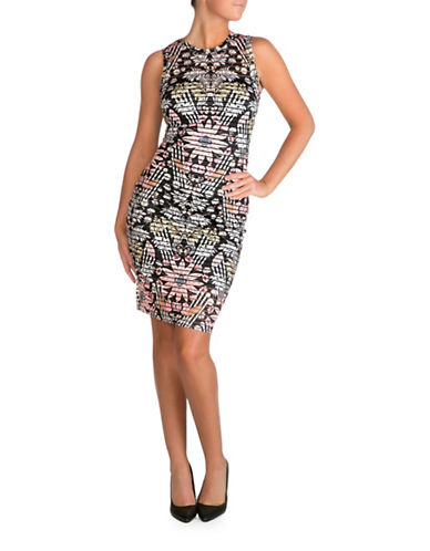 Guess Floral-Print Striped Bodycon Dress-MULTI-8
