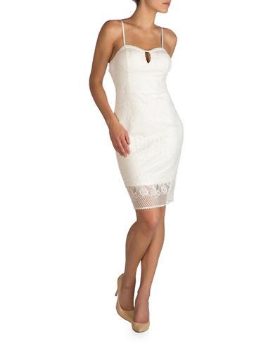 Guess Lace Sheath Dress-IVORY-2