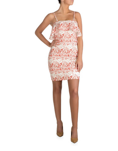 Guess Off-the-Shoulder Printed Bodycon Dress-WHITE MULTI-2