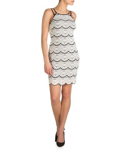 Guess Double Strap Two-Tone Lace Sheath Dress-BLACK/WHITE-6