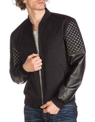 Guess Mixed Media Bomber Jacket-BLACK-Medium 88890602_BLACK_Medium