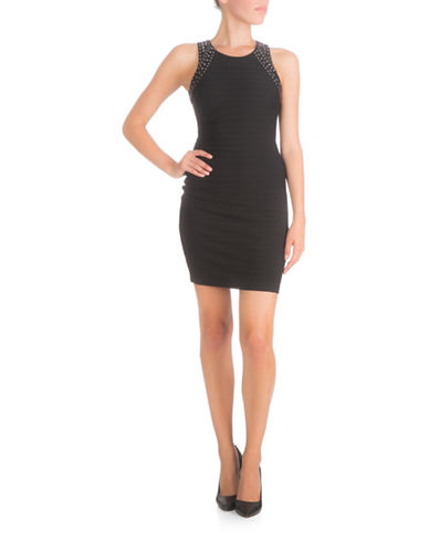 Guess Studded Rib Knit Bodycon Dress-BLACK-12