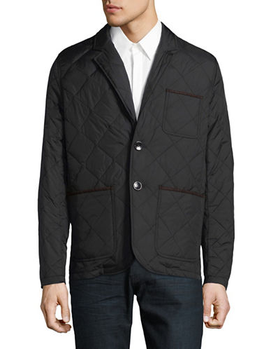 Vince Camuto Quilted Notch Lapel Jacket-BLACK-X-Large
