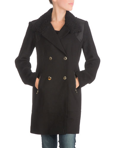 Guess Double-Breasted Twill Wool-Blend Coat-BLACK-Large 88474666_BLACK_Large