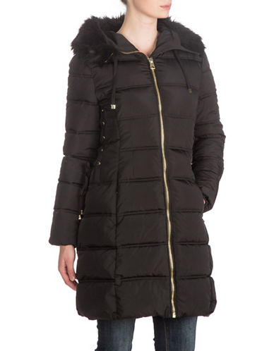 Guess Faux Fur Trimmed Long Coat-BLACK-X-Large plus size,  plus size fashion plus size appare