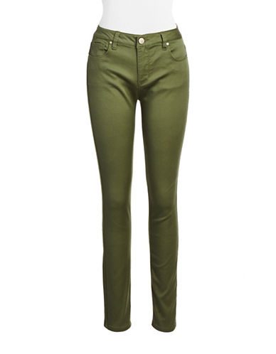 Design Lab Lord & Taylor Solid Skinny Jeans-OLIVE-32