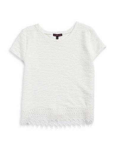Material Girl Crochet Hem Slub Knit T-Shirt-WHITE-X-Small 87741723_WHITE_X-Small