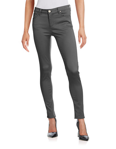 Design Lab Lord & Taylor Solid Skinny Jeans-STEEL-32