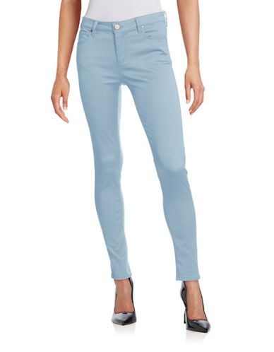 Design Lab Lord & Taylor Solid Skinny Jeans-BLUE-26