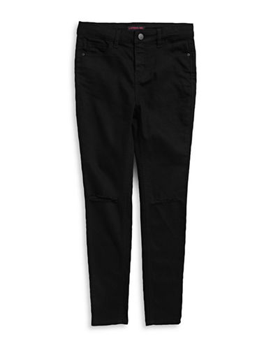 Material Girl Ripped Skinny Jeans-BLACK-14