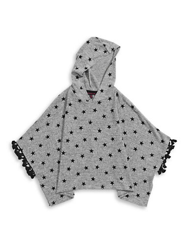 Material Girl Star Print Poncho Hoodie-GREY-Large 88552808_GREY_Large