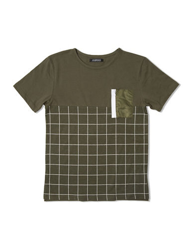 Elwood Square Printed Zippered Pocket Football Tee-GREEN-X-Large 88677742_GREEN_X-Large