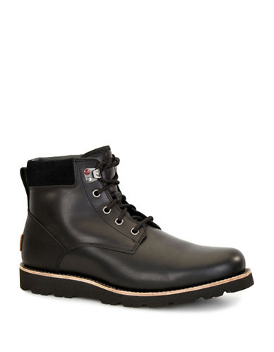 Ugg Seton Leather Ankle Boots-BLACK-8