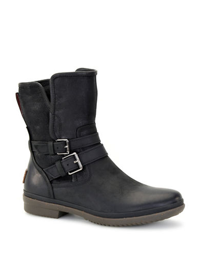 Ugg Waterproof UGGpure Simmens Leather Ankle Boots-BLACK-5