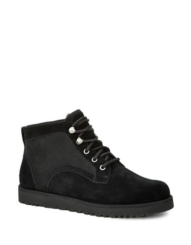 Ugg Bethany Sheepskin and Suede Ankle Boots-BLACK-6