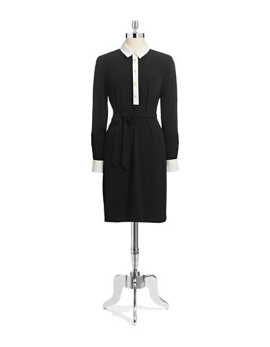 Ivanka Trump Contrast Collar Jersey Dress with Waist Tie-BLACK-X-Small